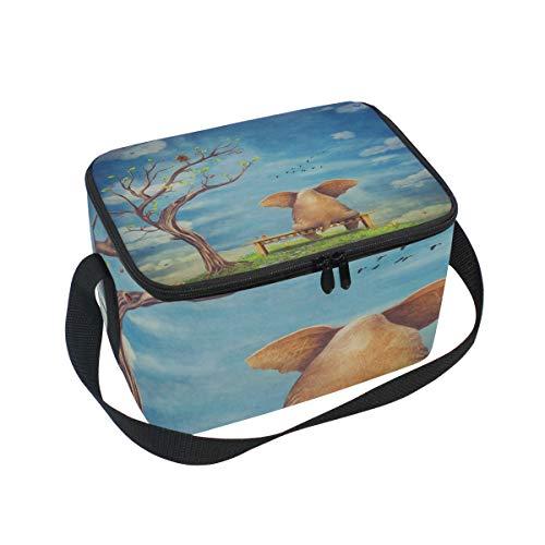 Lunchbox mit Cartoon-Elefanten-Motiv, Sitzbank, Kühler für Picknick, Schultergurt, Lunchbox