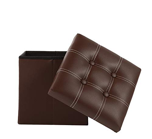 Homewell - Reposapiés plegable de piel sintética de 33 cm, taburete, asiento, juguetes para niños, color marrón (1 unidad)