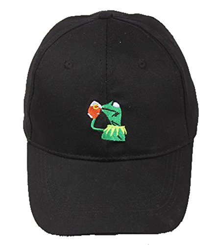 Classic Kermit The Frog Sipping Tea Adjustable Strapback Hat Black Baseball Cap for Adult
