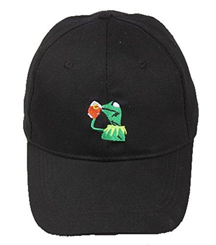 Klassische Baseballkappe Kermit The Frog Sipping Tea verstellbare Strapback-Hut, schwarz für Erwachsene