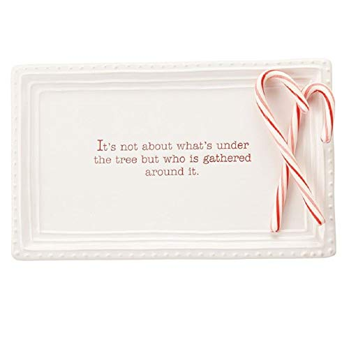 Mud Pie Christmas Holiday Under the Tree Treat Tray Serving Platter, One Size, White