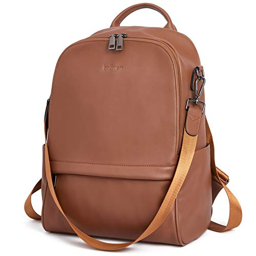 BROMEN Backpack Purse for Women Leather Anti-theft Travel Backpack Fashion College Shoulder Handbag Coffee