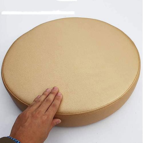 Almohadillas De Silla, Cojín De Asiento De Piel Sintética Gruesa, Silla De Color Sólido Redondo Cojín De Memoria De Memoria De Espuma Tapa Extraíble No Sli(Size:50x50x8cm(20x20x3inch),Color:Camello)