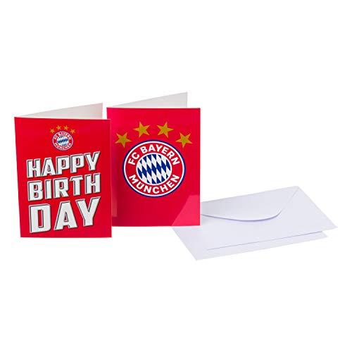 Bayern München Glückwunschkarten 4-teilig Klappkarten, Karten-Set kompatibel FCB - Plus Lesezeichen I Love München