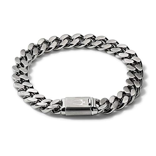 Bulova Mens Classic Stainless Steel Chain Link Bracelet with Brushed Signature Clasp (Model J96B016M), Silver-Tone