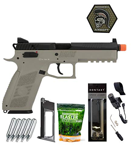Airsoft Pistol ASG CZ P-09 Suppressor Ready CO2 Airsoft GBB Pistol with ASG 0.25G Blaster BBS 3000CT, Adjustable Tactical Laser, 5 Co2, Magazine, Patch and Speedloader Gray