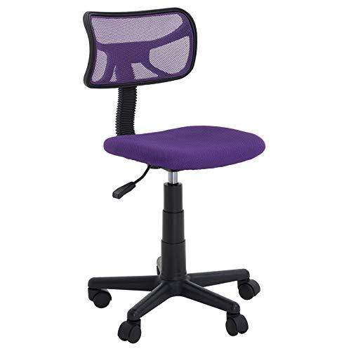 IDIMEX Chaise de Bureau pour Enfant Milan Fauteuil pivotant et Ergonomique sans accoudoirs, siège à roulettes avec Hauteur réglable, revêtement Mesh Violet