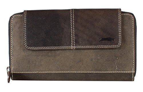 Ven Tomy - dames portemonnee portefeuille lederen portemonnee dames portemonnee vintage leer ritssluiting 19,5 x 11,5 x 2 cm (B x H x D)