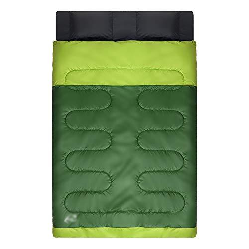 RKY Saco de dormir Saco de dormir doble - tejido de poliéster en celosía de panal 190T, saco de dormir para acampar al aire libre, desmontable, de doble estación, para adultos, adecuado para: almuerzo