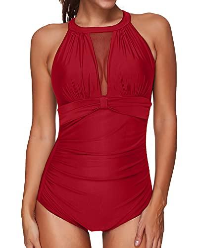 Tempt Me Women One Piece Swimsuit Red High Neck V-Neckline Mesh Ruch Swimwear L