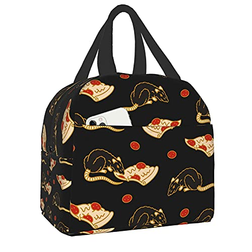 Shichangwei Pizza Rat Bonanza Lunch Bag Insulated Leakproof Reusable Lunch Box for Men Women, Soft Thermal Bento Cooler Bag Tote for Travel Work School Picnic Hiking Beach