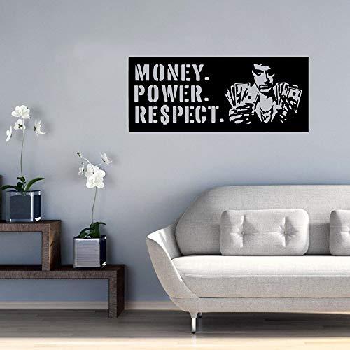 Dinero Poder Respeto Citas de películas Hombre de negocios Dólares Etiqueta de la pared Vinilo Arte Calcomanía Dormitorio Sala de estar Oficina Club Estudio Decoración para el hogar Mural