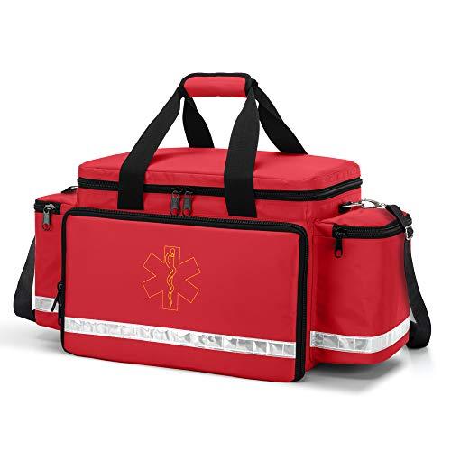 Trunab Erste Hilfe Tasche, Professionelle Erste-Hilfe-Sets Arzttasche, Rettungstasche Notfall Zubehör, Notfalltasche leer für Rettungskräfte, Medizinisches Personal, Erster Beantworter, Rot