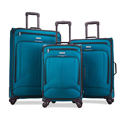 of travelambo luggages American Tourister Pop Max Softside Luggage with Spinner Wheels, Teal, 3-Piece Set (21/25/29)