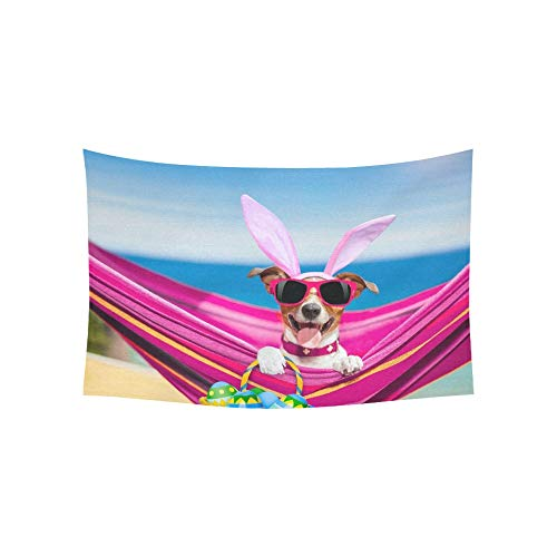 LMFshop Tapestry Jack Russell Dog On Hammock During Tapestries Wall Hanging Flower Psychedelic Tapestry Wall Hanging Indian Dorm Decor For Living Room Bedroom 60 X 40 Inch