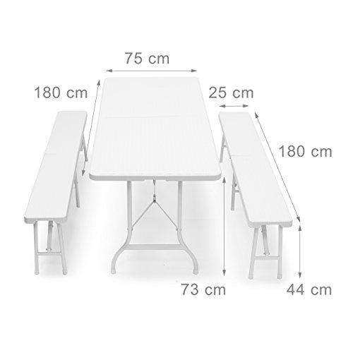 Relaxdays Bierzeltgarnitur klappbar Bastian, 3-teiliges Gartenmöbel Set, einfarbig, H x B x T: 73 x 180 x 75 cm, weiß - 2