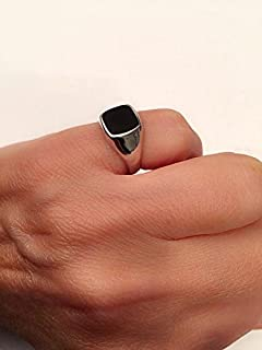 Onyx ring, Silver Signet Black square Ring, Size 11 us