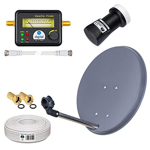 HB-DIGITAL Sat-Komplett-Set: Mini Sat Anlage 40cm Schüssel Anthrazit + LNB 0,1 dB + 10m Kabel + SAT-Finder mit analoger Anzeige und vergoldeten Anschlüssen + Vergoldete F-Stecker + Gummitülle HDTV