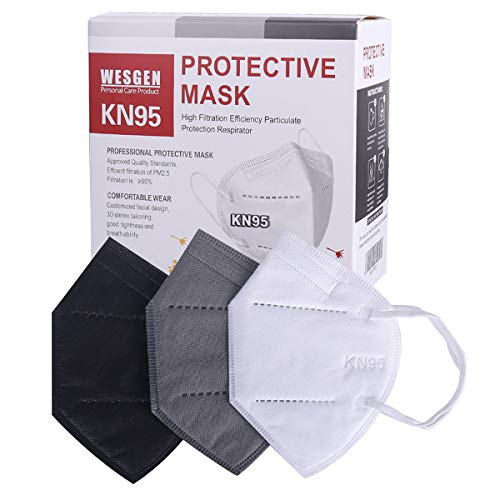 WesGen 30Pcs KN95 Face Mask,5 Layers Cup Dust Mask with Elastic Earloop and Nose Bridge Clip,Vacuum Packing(Black,Gray,White)