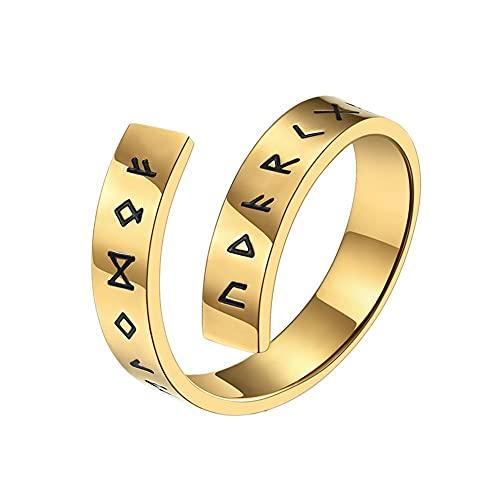 Nordic Viking Rune Ring Adjustable Open Ring, Hombres Mujeres Elder Futhark Runes Ring, Banda de Acero Inoxidable Anillo Pagan Amuleto Vintage Nórdico Joyería Tamaño 7-12 ( Color : Gold , Size : 10 )