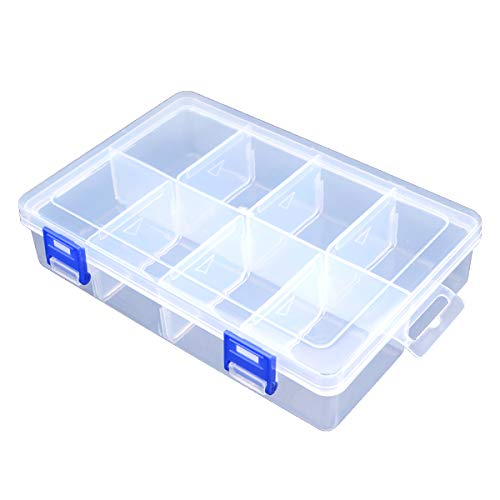 TOPINSTOCK Plastic Compartment Storage Box with Adjustable Divider Removable...