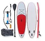 BYCDD Tabla de Paddle Surf Hinchable, Antideslizante de la Cubierta Tabla de Surf Sup Paddle con Ajustable, Aleta, Bomba de Mano, Mochila y Kit de reparación,Red_335X79CM