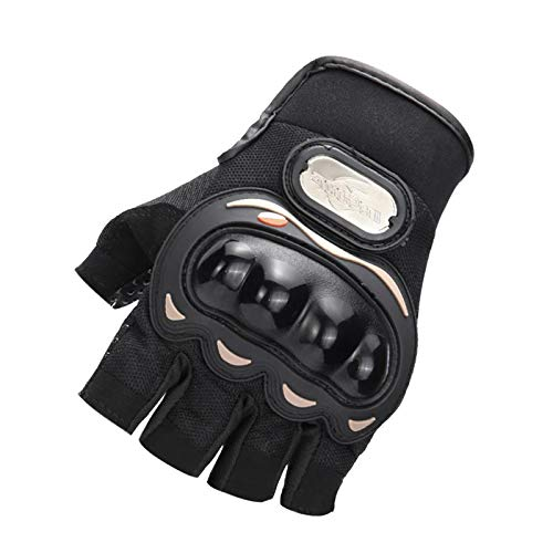 Motorcycle Half Finger Gloves Tactical Fingerless Gloves Airsoft Paintball Bike Hunting Shooting Hiking Camping (Black) (Black, XXL)