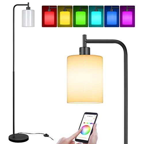 Linkind Industrial Floor Lamp with White Jade Glass Shade, Smart WiFi E27 A60 RGBW LED Light Bulb Included, Modern Standing Lamp, LED Floor Lamp for Bedroom, Living Room, Office, Black, 60W Max