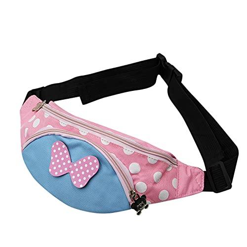 Kinder Bauchtasche mit niedlichem Pokla-Punkt-Schleife, Mini-Umhängetasche, börse für Mädchen, Kleinkinder, Sport, Reisen, rose (Pink) - BObb-21041375B-02