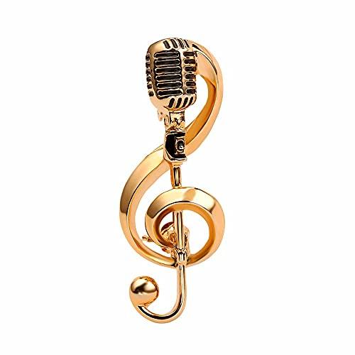 MZHSMZHR Microphone Music Note Broo…