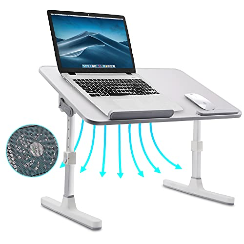 Scrivania per laptop per letto, tavolino da letto pieghevole regolabile per laptop, supporto per laptop portatile con ventola di raffreddamento per lettura del pavimento del divano(grey)