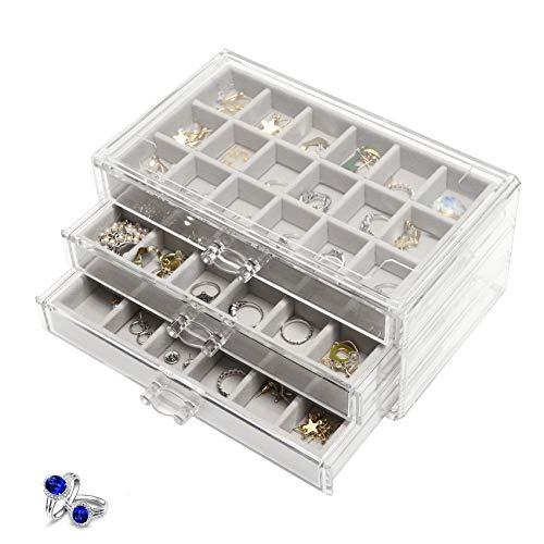 Joyero acrílico con 3 cajones, organizador de joyas para pendientes, pulseras, anillos, cadenas, joyero, para mujer, color gris