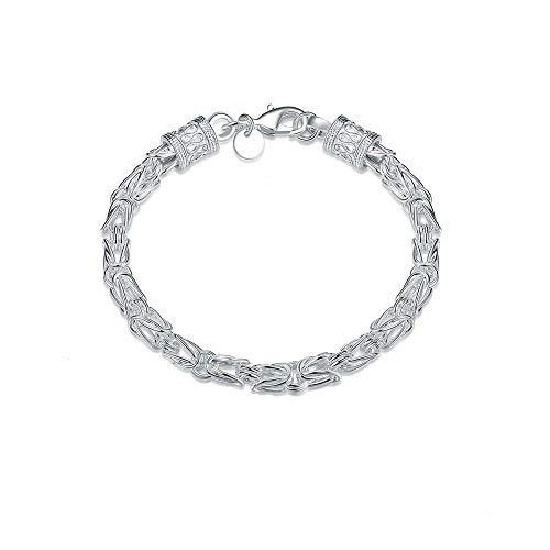 HJKV Cadena de joyería de Plata esterlina para Mujer Pulseras para Mujer Pulseras de Plata Pulseras para Hombre Pulseras de Plata esterlina Pulseras para Mujer