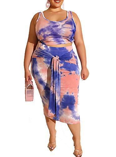 Plus Size Sexy 2 Piece Midi Dress Outfits for Women, Casual Tie Dye Print Sleeveless Crop Tops Bodycon Tie Pencil Skirts Set Blue XXXXL