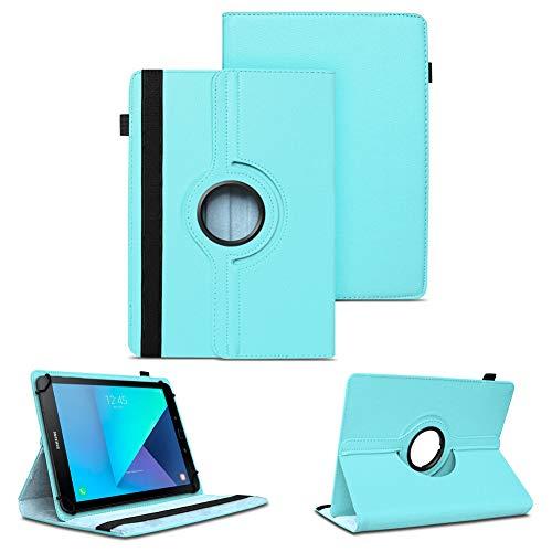 NAUC Tablet Schutzhülle kompatibel für Samsung Galaxy Tab S2 S3 9.7 Tasche Tablettasche Hülle mit Standfunktion 360° drehbar Kunst-Leder Cover Universal Tablethülle Hülle, Farben:Türkis