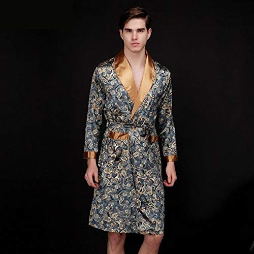 Herren Bademantel Kimono Roben V-Ausschnitt Männliche Nachtwäsche Nachtwäsche Männliche Bademantel-Navy B-XXXL