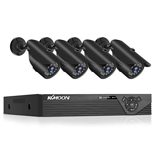Walmeck Sistema de cámara de seguridad para el hogar 1080P DVR Grabadora de video digital + 4 piezas Full HD 1080P Cámaras de vigilancia para exteriores resistentes a la intemperie Kit DVR SIN disco d