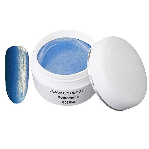 LED UV couleur gel or shimmer G08 Blue 5ml