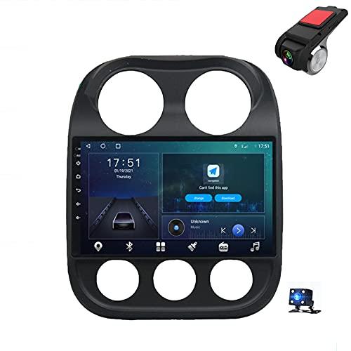 9'Android 10 Navegación GPS Car Stereo DIN Radio Reproductor De Video Multimedia para Jeep Compass 2010-2016 Soporte Bluetooth Control del Volante USB WiFi FHD Dash C(Size:8 Core,Color:WiFi 4G+64G)
