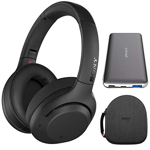 Sony WH-XB900N Extra BASS Wireless Noise Cancelling Headphones (Black) with 10,000mAh PD & QC Fast Charging Ultra-Slim Battery Pack and Compact Headphone case (3 Items)