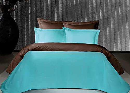 Salomé Prestige Housse de Couette Bicolore et réversible Satin de Coton 120 Fils - 200x200 - Chocolat/Turquoise