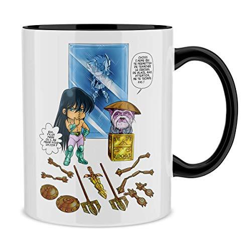 Mug avec anse et intérieur de couleur (Noir) - parodie Saint Seiya - Shiryu du Dragon et Dohko chevalier d'or de la Balance - Un choix très difficile... (Mug de qualité supérieure - imprimé en France