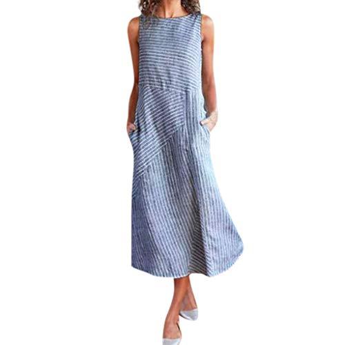 Youmymine Women Sleeveless Dress Casual Striped Crew Neck Linen Beach Long Dresses with Pocket (XXL, Blue)