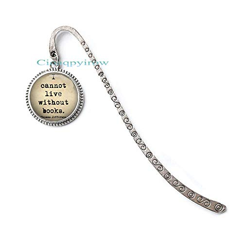 Book Lover Bookmark-I Cannot Live Without Books Bookmark Bookmarker or Key Chain Charm-Bookworm Reading Library Librarian Teacher Gift,HO0E368