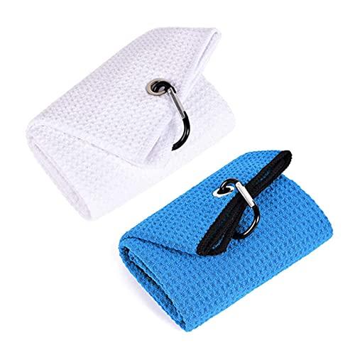 HEWAN 2 Piezas de Toalla de Golf de Tres Pliegues con mosquetón Clip de Microfibra Premium Toallas de Limpieza para Amantes del Golf Hombres Mujeres y niños White-Blue
