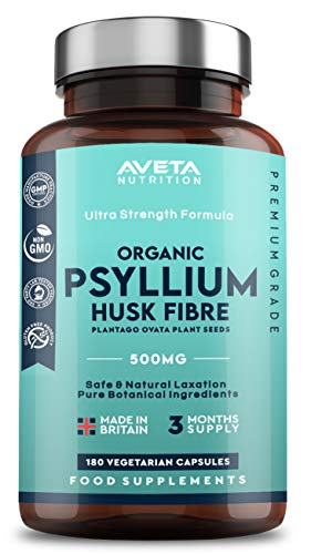 Psyllium Husk Fibre 500mg – 180 Capsules - 500mg – 1000mg Per Serving – Made from 100% Pure Plantago Ovata Plant Seeds – Constipation, Digestion and Weight Loss - 100% Natural Soluble Fiber