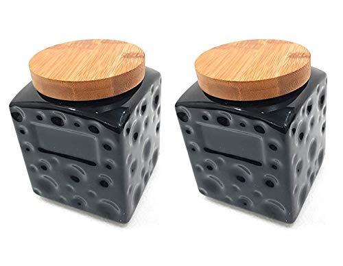 Edgen Designer Ceramic Black Handmade Air Tight Cookie Jar