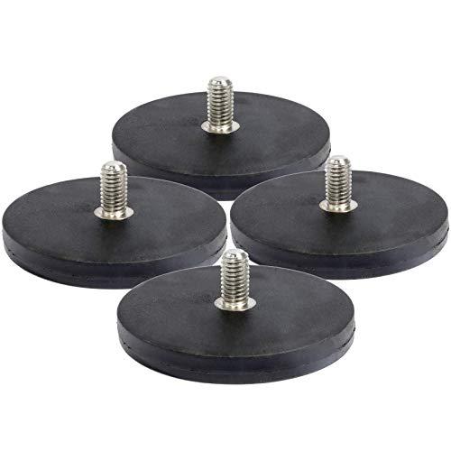 4 Stück Neodym Magnete Gummiert D43 mm Mit M6 Außengewinde 15 KG Zugkraft Flachgreifer Magnet Scheibe Topfmagnet Gummi Runde Magnete mit Gewinde für Schrauben Öse oder Haken