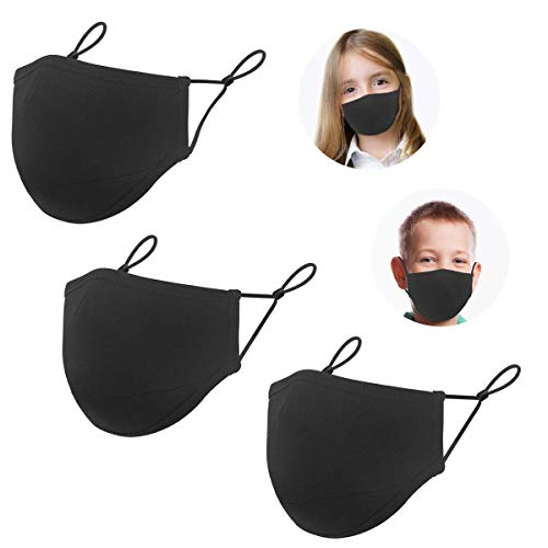 Cloth 3 Layers Reusable Face Protector, Kids Adjustable Size Face Bandanas, Washable Breathable Comfort Mouth Shield for Children (3 Pack)