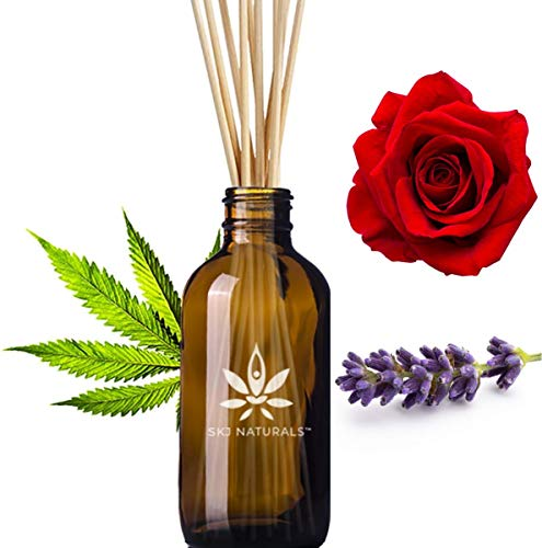 Passionate Hemp, Wild Rose and Lavender Aromatherapy Reed Diffuser Set | 100% Pure Essential Oils | Home Fragrance | 10 Reed Diffuser Sticks and 4 oz Bottle | Hand Made in The USA